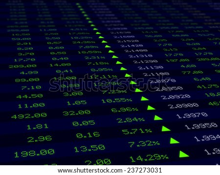 a large display of stock market price and quotation during economic upturn, bull market - stock photo