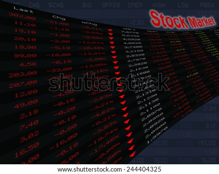 a large display of stock market price and quotation during the bear market period, shares down, economic downturn - stock photo