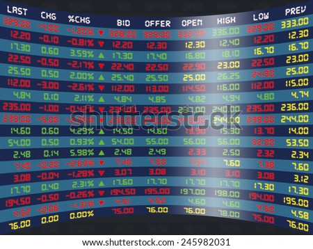 a large display panel of daily stock market price and quotation - stock photo