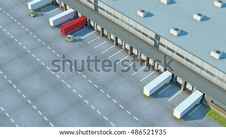 A Large distribution warehouse with gates for loading goods Cardboard boxes isolated over white background for use in presentations, education manuals, design, etc.