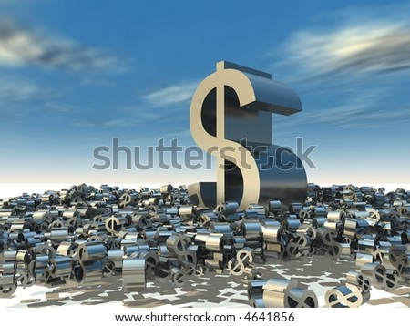 A large dollar sign towers over a mass of smaller dollar signs - stock photo