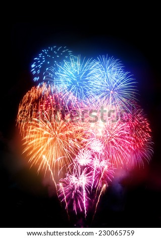 A large fireworks display  - stock photo