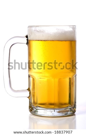 A large glass beer mug on a white background