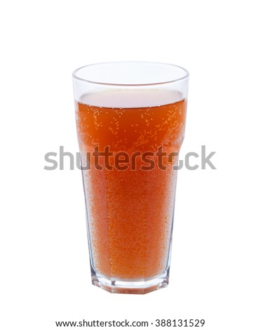 a large glass of kvass isolated on white background - stock photo