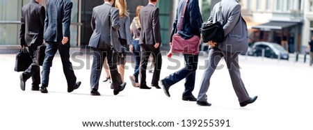 A large group of business people. Panorama. Urban scene. - stock photo