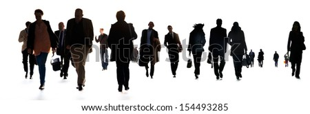 A large group of business people. Silhouettes. White background. - stock photo