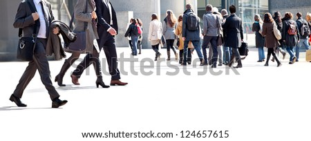 A large group of businessmen. Panorama. A large group of people. - stock photo