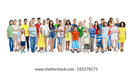 A Large Group of Diverse Colorful Happy People - stock photo