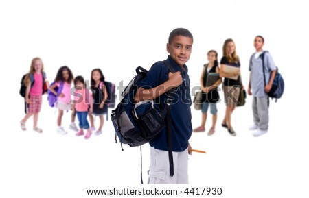 A large group of kids ready for school. Diversity - stock photo