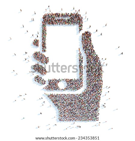 A large group of people in the form of a hand with the phone. White background. - stock photo