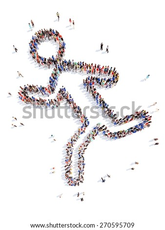 A large group of people in the form of a man in sports. Isolated, white background. - stock photo