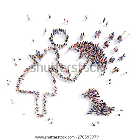 A large group of people in the form of a man. Isolated, white background. - stock photo