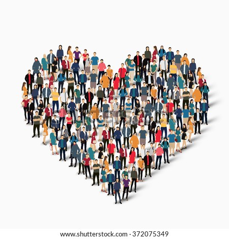 A large group of people in the form of heart , love .  - stock photo