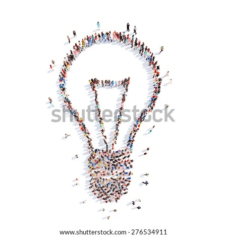 A large group of people in the form of lamps and ideas. Isolated, white background. - stock photo