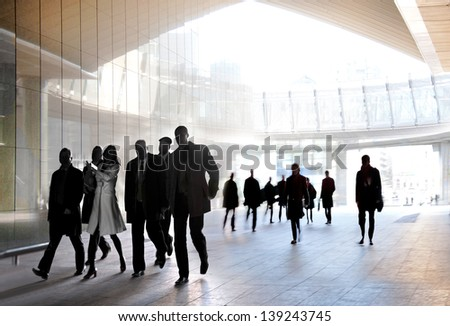 A large group of people in the office center. Panorama. Urban scene. - stock photo