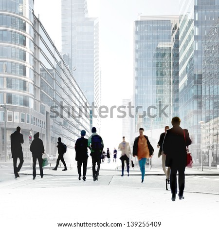 A large group of people in the office center. Urban scene.