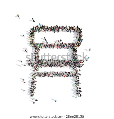 A large group of people in the shape of a chair. Isolated, white background. - stock photo