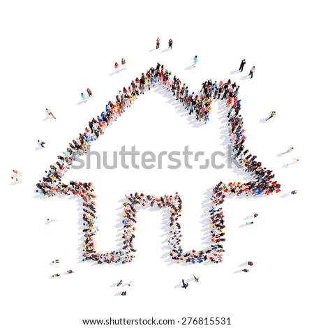 A large group of people in the shape of a house. Isolated, white background. - stock photo
