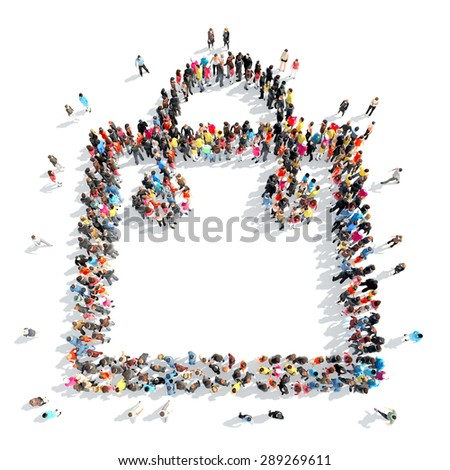 A large group of people in the shape of bags. - stock photo