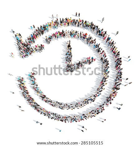 A large group of people in the shape of clock. Isolated, white background. - stock photo