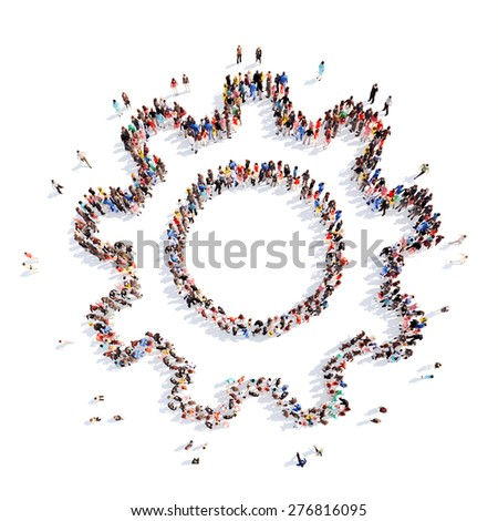 A large group of people in the shape of gears . Isolated, white background. - stock photo