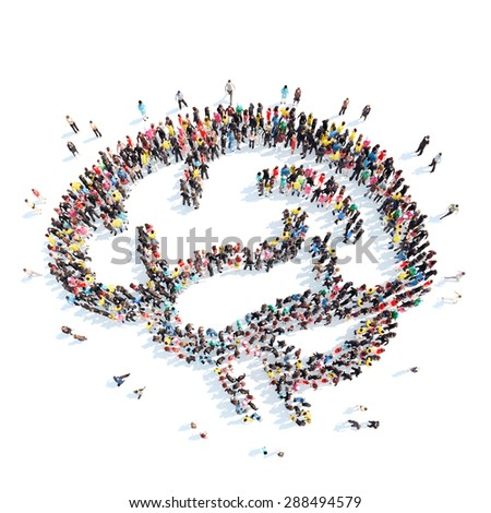 A large group of people in the shape of the brain. Isolated, white background. - stock photo