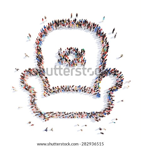 A large group of people in the shape of the chair. Isolated, white background. - stock photo