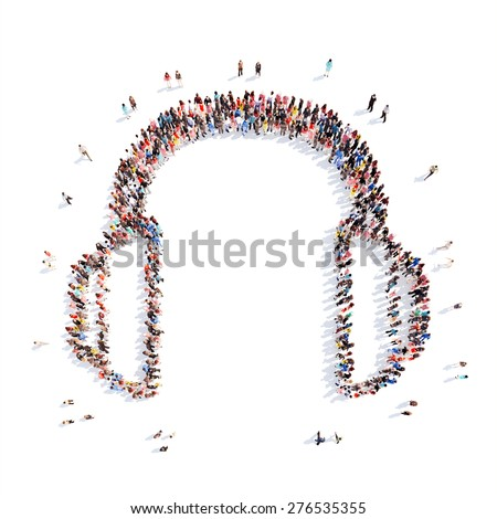 A large group of people representing the headphones. Isolated, white background. - stock photo