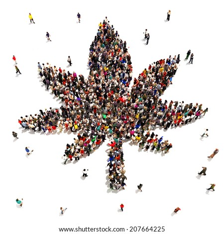 A Large group of people that support marijuana for medical or recreational uses. - stock photo