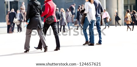 A large group of people. Urban scene. - stock photo