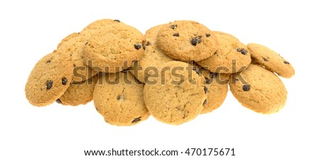 A large group of vanilla chocolate chip cookies isolated on a white background.