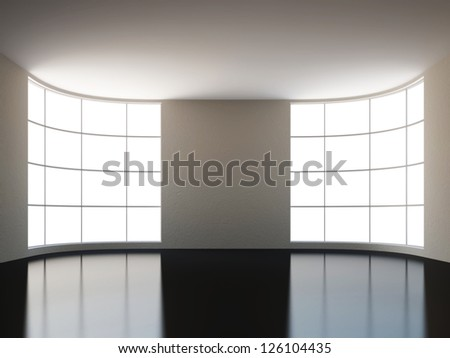 A large hall with a big window - stock photo