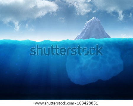 A large iceberg floating in water - stock photo