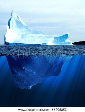 A large iceberg in the cold blue cold water. Collage - stock photo