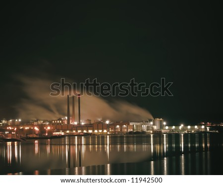 A large industry by the water