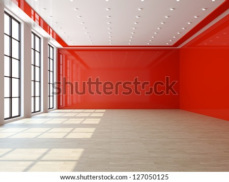 A large livingroom with a big windows - stock photo