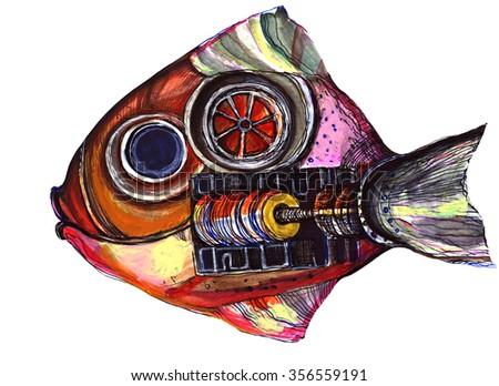 A large mechanical fish. - stock photo