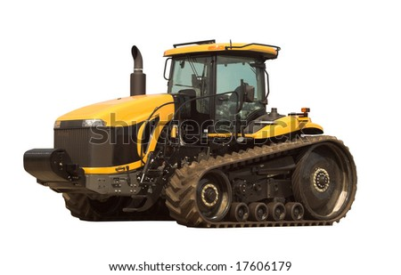 A large modern tractor isolated on white - stock photo