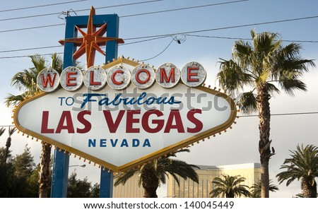 A large neon sign welcomes travelers to Las Vega Nevada USA - stock photo