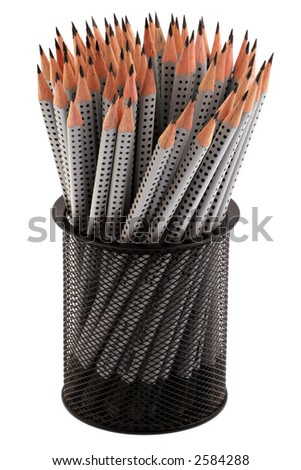 A large number of pencils in a pencil holder isolated against a white background - stock photo