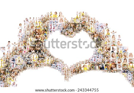 a large number of photographs of people, forms an image of the heart. Collage isolated on white background.  - stock photo