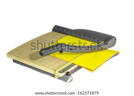 A large office paper cutter isolated on a white background. - stock photo