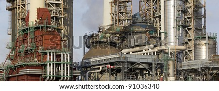 A large oil-refinery plant - stock photo