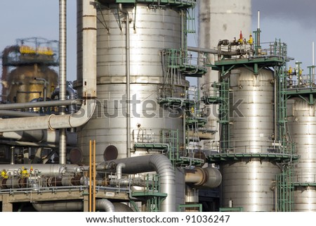 A large oil-refinery plant situated in the Botlek, Rotterdam, The Netherlands