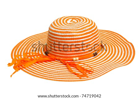 A large orange ladies hat, isolated on white - stock photo