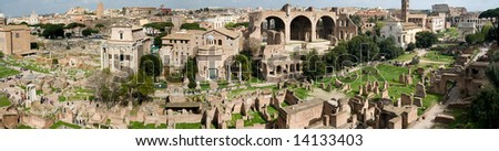 A large panoramic image of the Roman Forum as seen from the Pantheon. - stock photo