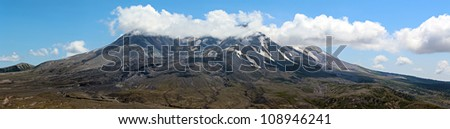 A large photograph of mount St Helens - stock photo