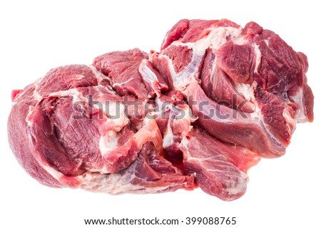 A large piece of raw meat fresh pork. Picnic shoulder butt part. 2.5 kg. Isolated on white background.