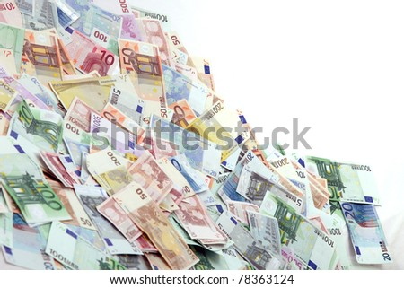 A large pile of euro notes - horizontal with copy - space - stock photo