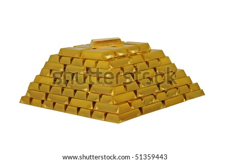 A Large Pile of Gold Bullion Bars. - stock photo